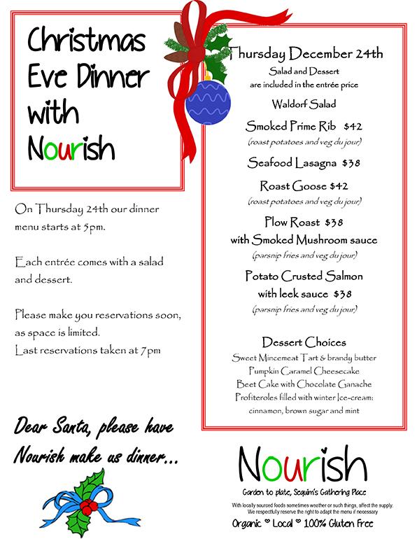 Christmas Eve Dinner Menu.Christmas Eve Dinner At Nourish Nourish