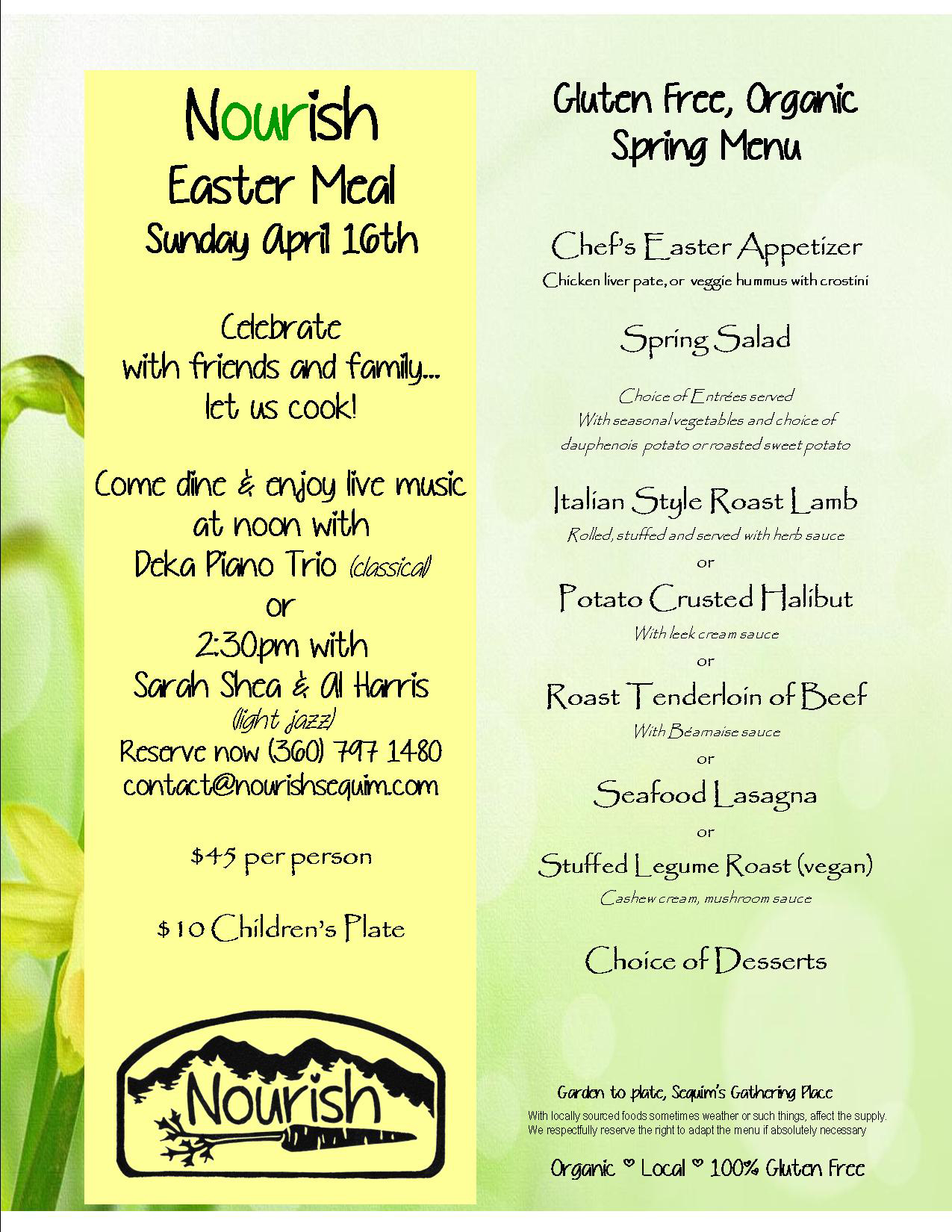 Join us for Easter, leave the cooking to us! - Nourish